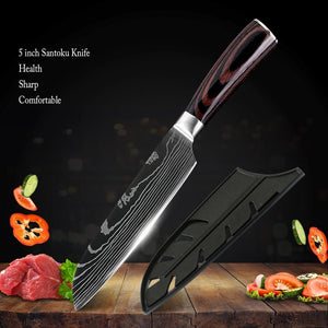 Steel Knives - Santoku Knife 5 Inch Super Sharp Damascus - German High Carbon Stainless Steel Knife - Great Gift!