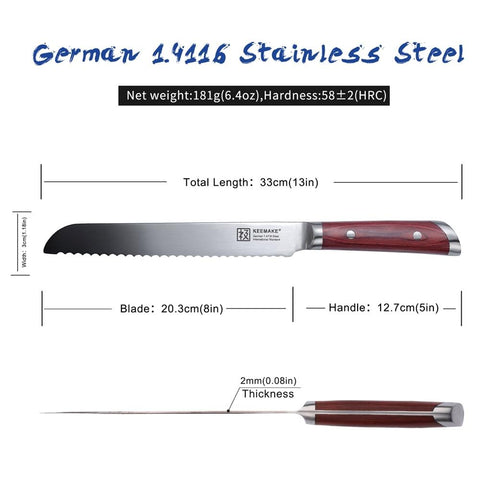 "Image of Steel Knives - Sharp Stainless Steel KEEMAKE 8"" Inch Chef Knife"