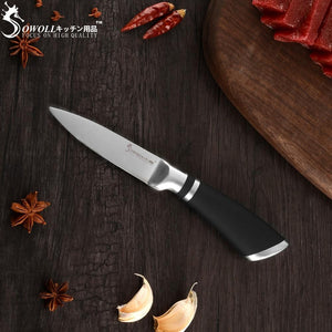 Steel Knives - SOWOLL 6 PCS Kitchen Knife Set Stainless Steel Blade Black Handle - Great Gift