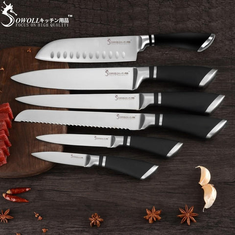 Image of Steel Knives - SOWOLL 6 PCS Kitchen Knife Set Stainless Steel Blade Black Handle - Great Gift