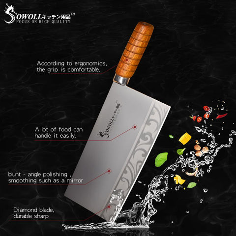 Steel Knives - Sowoll 9 Inch Kitchen Chopping Knife Stainless Steel Sharp Kitchen Knife