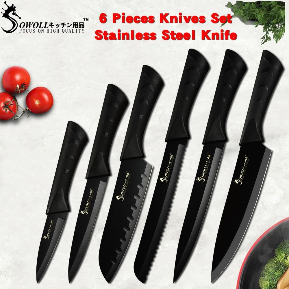 Sowoll Fashion Black Stainless Steel Kitchen Knife Set Germany Steel Ultra  Sharp