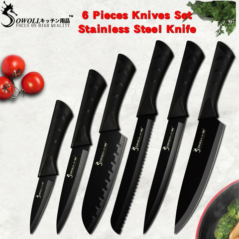 Image of Steel Knives - Sowoll Fashion Black Stainless Steel Kitchen Knife Set Germany Steel Ultra Sharp Blade Kitchen