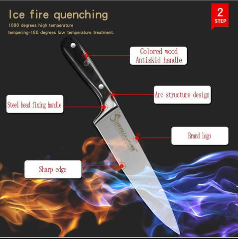 Image of Steel Knives - SOWOLL Full Tang Best Kitchen Chef Knife 7Cr17mov Japanese Steel Blade Pakka Wood Handle 55HRC Sliver Meat Knife Kitchen Tools