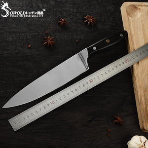 Steel Knives - SOWOLL Full Tang Best Kitchen Chef Knife 7Cr17mov Japanese Steel Blade Pakka Wood Handle 55HRC Sliver Meat Knife Kitchen Tools