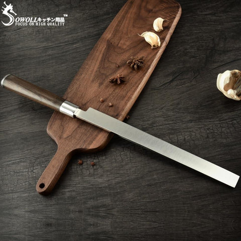 Image of Steel Knives - Sowoll Watermelon Knife Stainless Steel Kitchen Slicer Knife Super Sharp Blade Watermelon Cutter