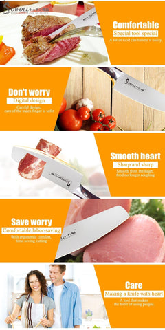 Image of Steel Knives - Stainless Steel Kitchen Knife Set Chopping Chef Knives Set - Excellent Gift