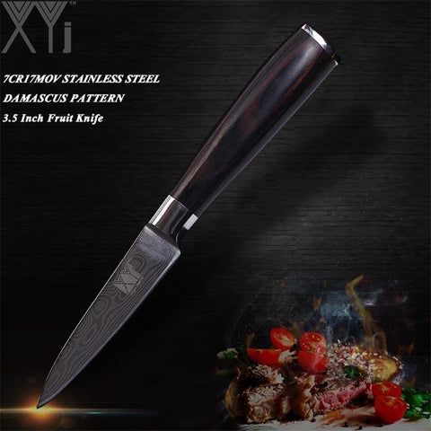Image of Steel Knives - Stainless Steel Knives Double Steel Head & Wood Handle Damascus Sharp