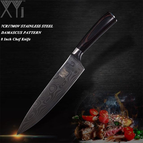 Steel Knives - Stainless Steel Knives Double Steel Head & Wood Handle Damascus Sharp