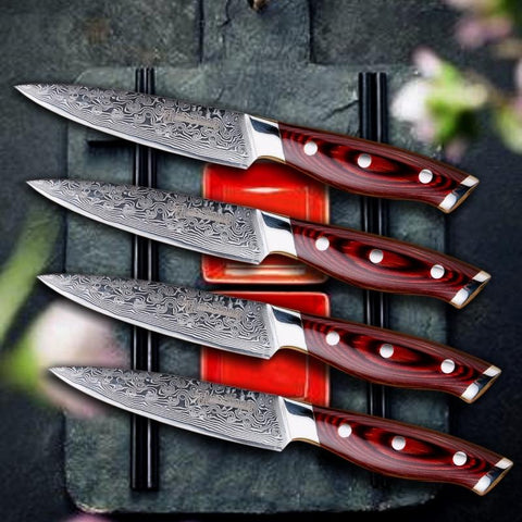 Steel Knives - Steak Knife Set 4 Pcs Damascus VG10 67 Layers Handmade Steel Kitchen Knives
