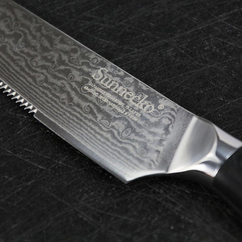 Image of Steel Knives - Super Sharp Black 4pcs Damascus Steak Knife Set-VG10 Core Steel