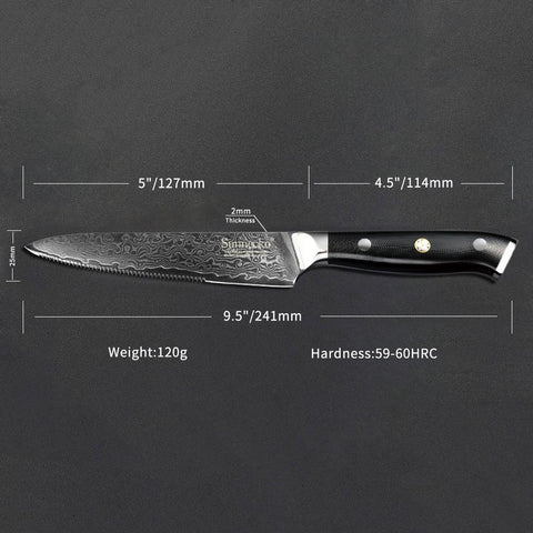 Steel Knives - Super Sharp Black 4pcs Damascus Steak Knife Set-VG10 Core Steel