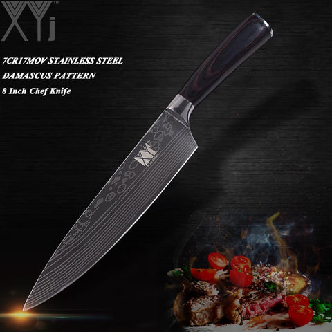 Image of Steel Knives - Ultra-thin Damascus Stainless High Carbon Steel Blade Kitchen Knives