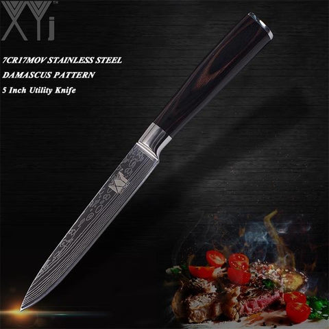 Steel Knives - Ultra-thin Damascus Stainless High Carbon Steel Blade Kitchen Knives