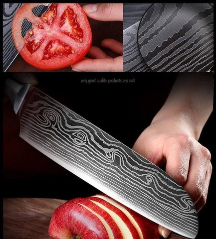 Steel Knives - Wilson Chef Knives Damascus Steel 7 Set - Makes Great Gift!