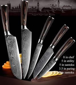 Steel Knives - Wilson Damascus Kitchen Stainless Steel Knives