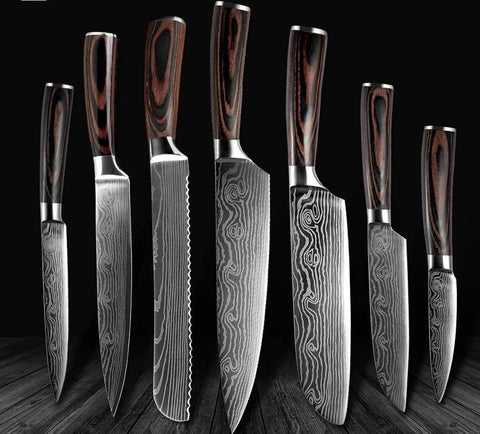 Image of Steel Knives - Wilson Damascus Stainless Steel Kitchen 6 Knives Set - Great Gift!