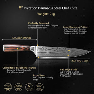 Steel Knives - Wilson Kitchen Knives 9 Knife Set Damascus Steel - (80% OFF)