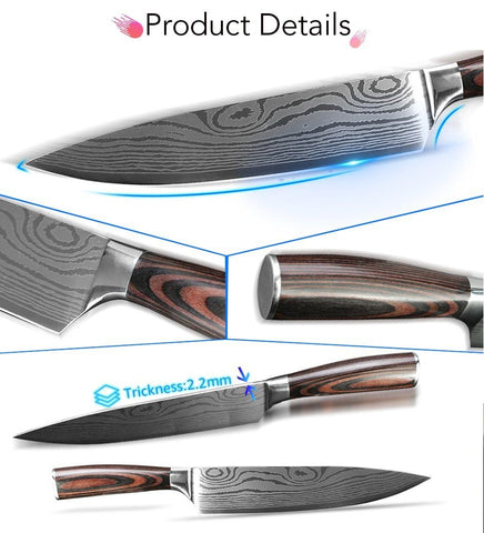 Image of Steel Knives - Wilson Kitchen Knives 9 Knife Set Damascus Steel - (80% OFF)