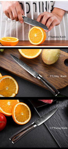 Image of Steel Knives - XITUO Damascus Kitchen Stainless Steel Knives Wood Handle Paring