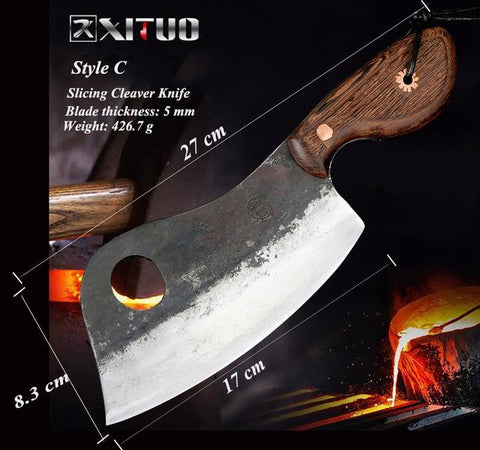 Image of Steel Knives - XITUO Full Tang Handmade Chopping Cleaver Butcher Knife High Carbon Clad Steel Kitchen Chef Knife Japanese Santoku Tool Hot New