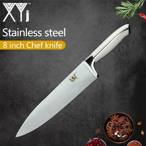 Image of Steel Knives - XYj 6 Piece Stainless Steel Knife Set High Carbon Sharp Thin Blade Comfortable Handle Kitchen Knives Meat Fish Cooking Tool