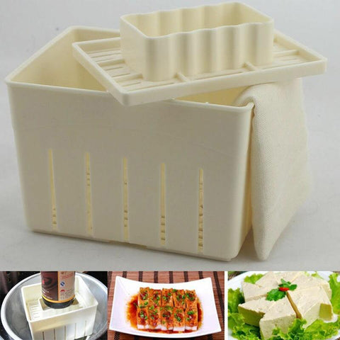 Tofu Maker - DIY Plastic Tofu Press Mold Kit Tofu Mold With Cheese Cloth Set