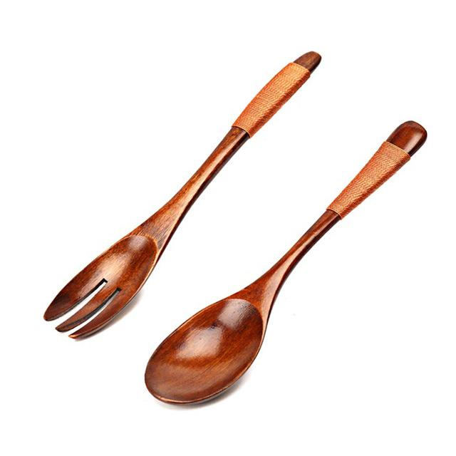 Wooden Salad Dinner Fork Set Kitchen Portable Outdoor Picnic Tableware