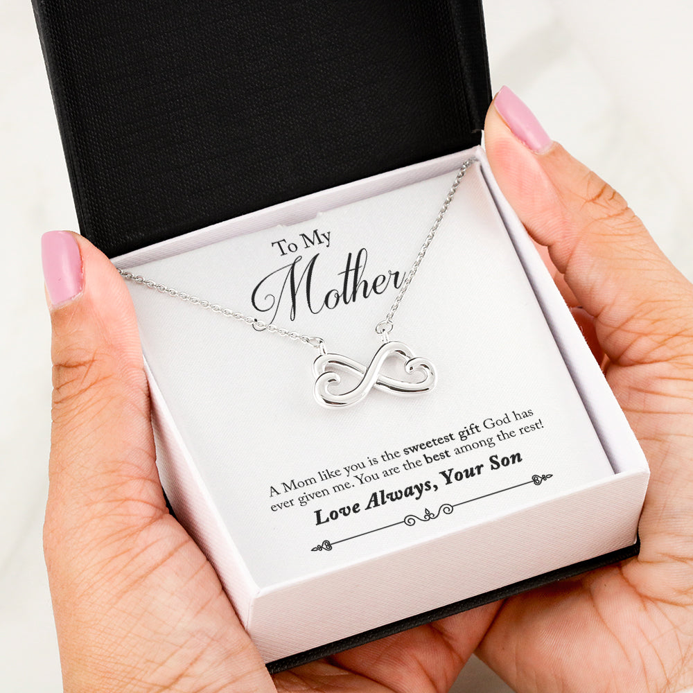 Son To Mom Best Infinity Heart Necklace