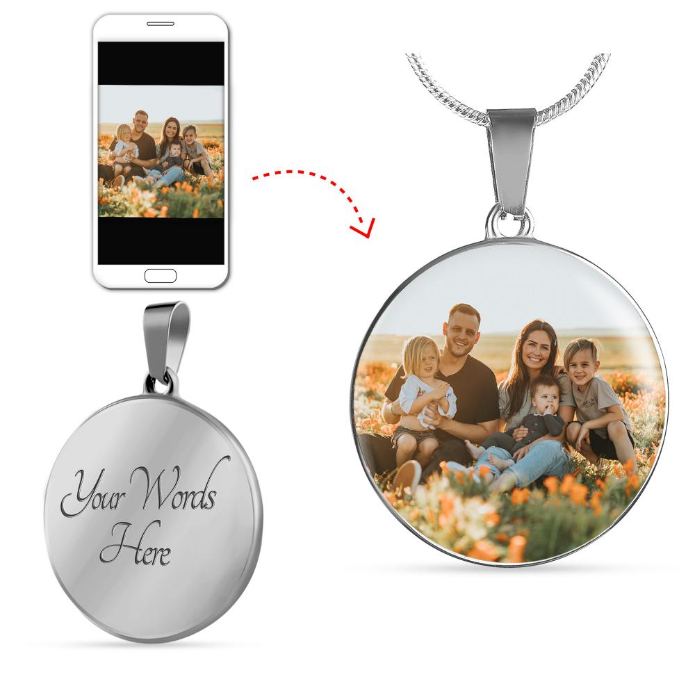 Custom Unique Photo Etched Luxury Circle Necklace