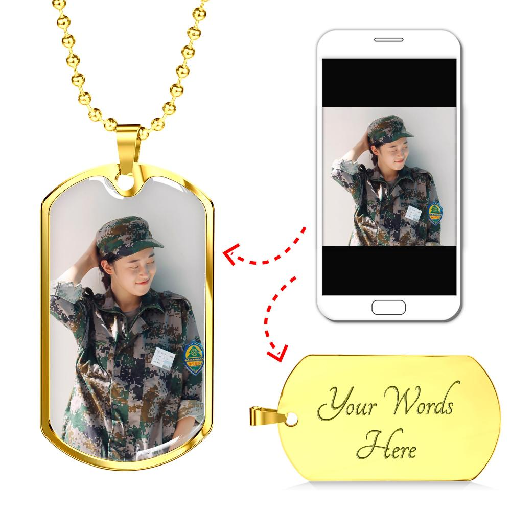 Custom Unique Photo Etched Luxury Military Dog Chain Dog Tag Necklace