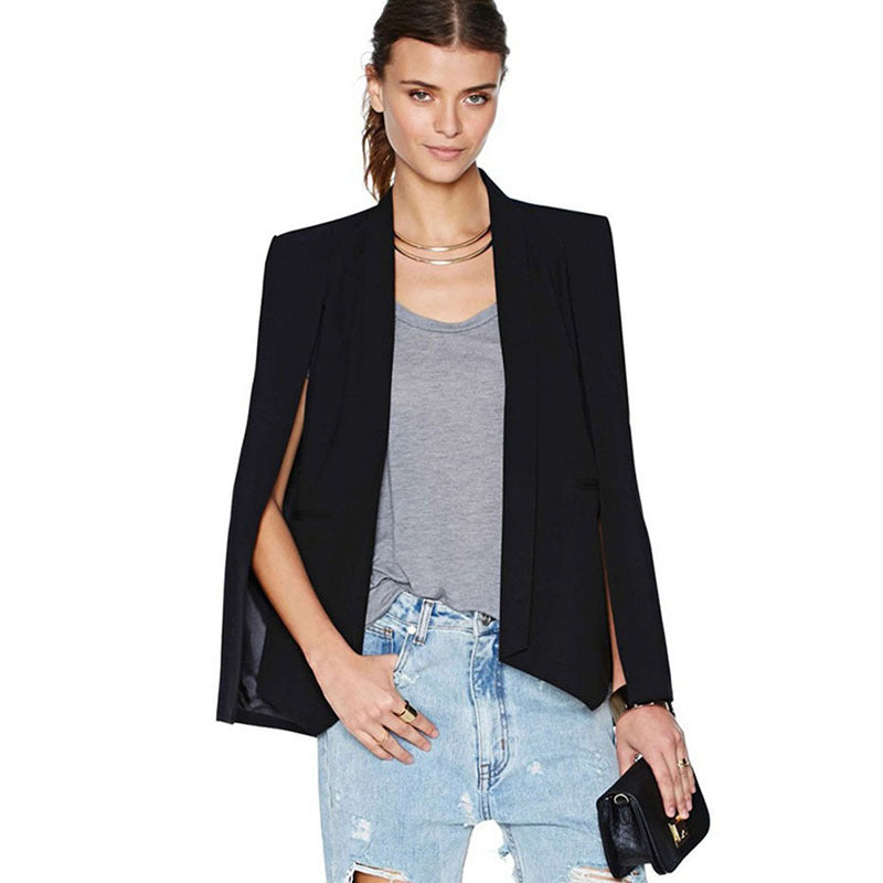 Fashion Women Long Sleeve Lapel Cape Casual Split Poncho OL Jacket Cloak Coat Blazer Suit