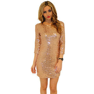 New Style Summer Dress Women O Neck Long Sleeve paillette Sequins Backless Bodycon Slim Pencil Party Dresses