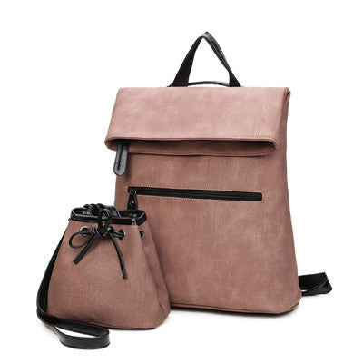 2 PCS/SET Women Backpack PU Leather Backpack Women Hotsale School Bags for Teenagers Famous Brand Black Femal Backpack New
