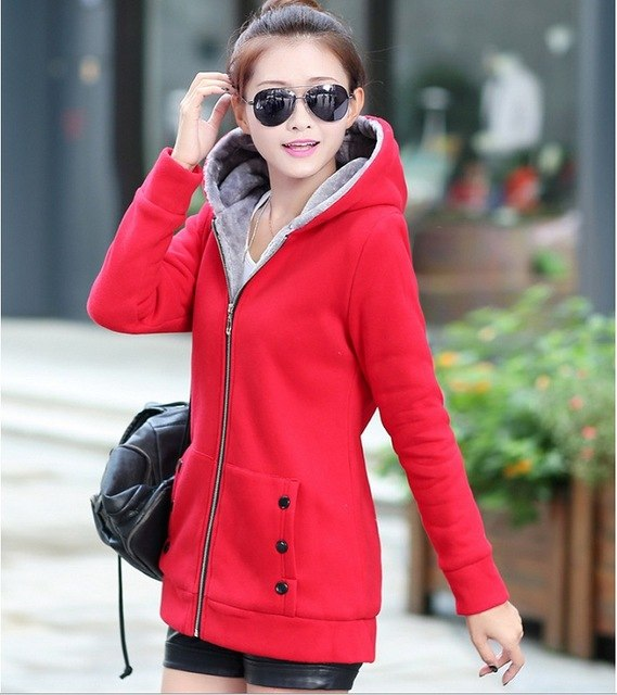 2016 Spring Autumn Jackets Women Casual Hoodies Coat Cotton Sportswear Coat Hooded Warm Jackets Plus Size M-3XL