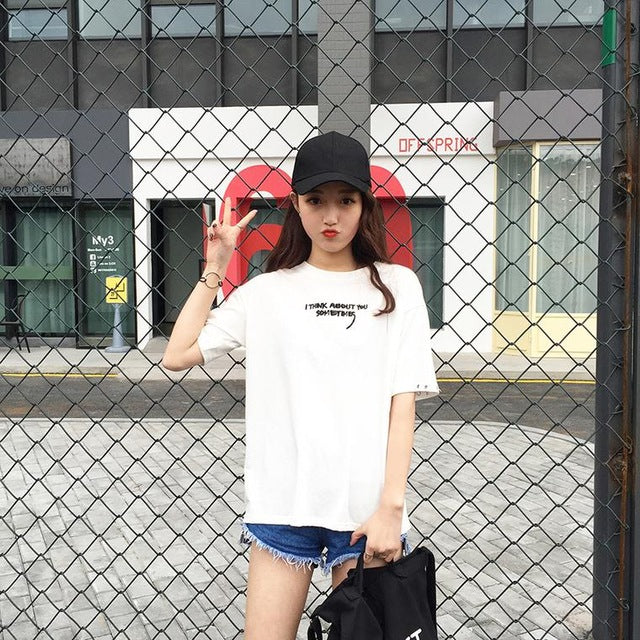Summer New Letter Embroidered Ring Causal Loose Halajuku Short Sleeve Female T-shirts