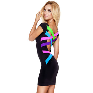 New Women Backless Black Bandage Dress Sexy Bodycon Dress XS- XXL Vestidos Plus Size Dress Vintage Summer Casual Dress 0650