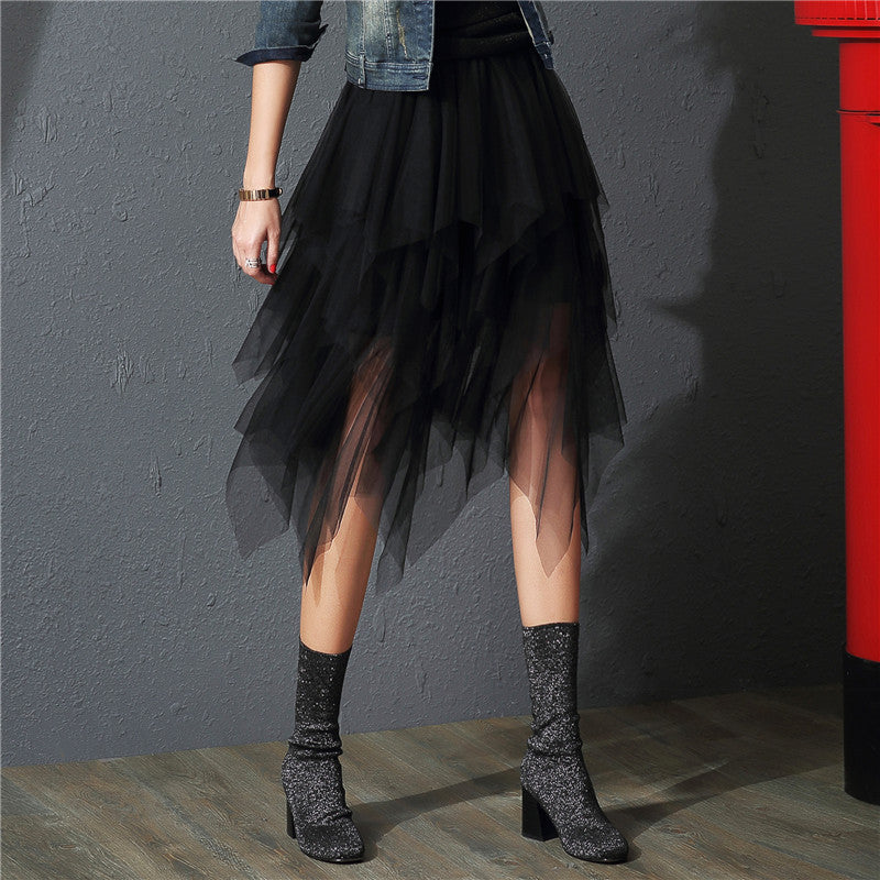 Tulle Skirts Womens Fashion Elastic High Waist  mesh Tutu Skirt pleated long skirts Midi Skirt saias faldas jupe femme