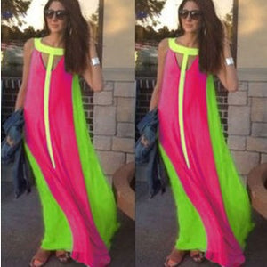 Summer Dress Sleeveless Stitching Maxi Dress Vestidos Casual Sexy Party Dresses Vestido Party Dresses Vestido De Festa Hot