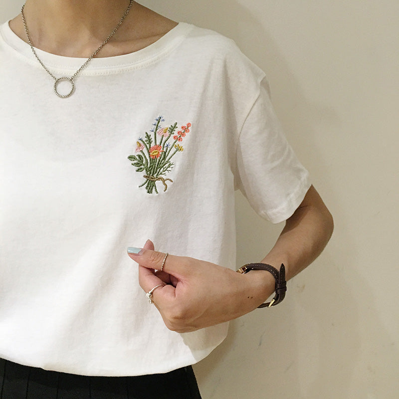 2 colors spring brief hemp cotton pullover flower bouquet embroidery short-sleeve  womens tee shirt femme