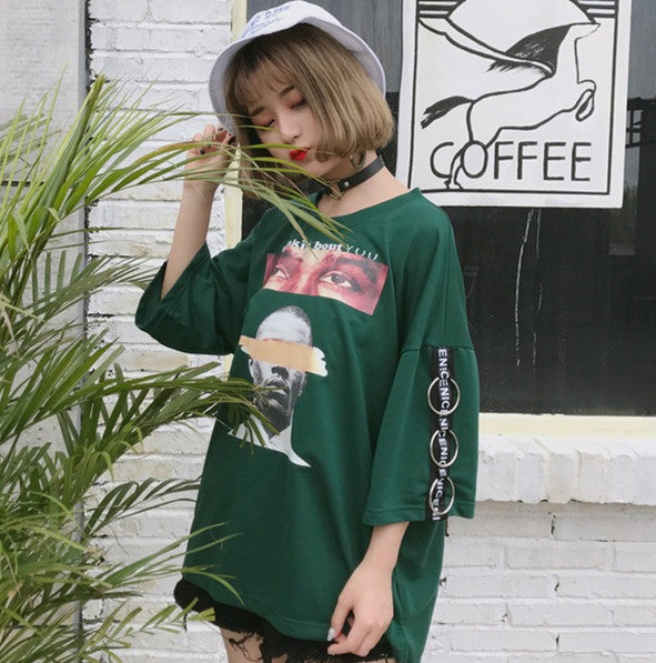 Halajuku Summer Oversize Loose Fashion Character Printed All Match Street Style Short Sleeve Female T-shirts