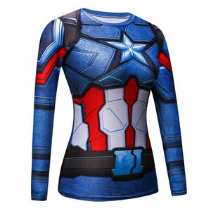 Crossfit Long Sleeve Compression Shirt 3D Anime Superhero Superman Captain America T Shirt Tights Fitness WOMEN Tops & Tee