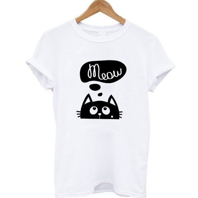 100% Summer Harajuku Animal 3D DJ Cat Print Shirt O-Neck Short Sleeve T Shirt Women Tops Best Friend Girls T-shirt