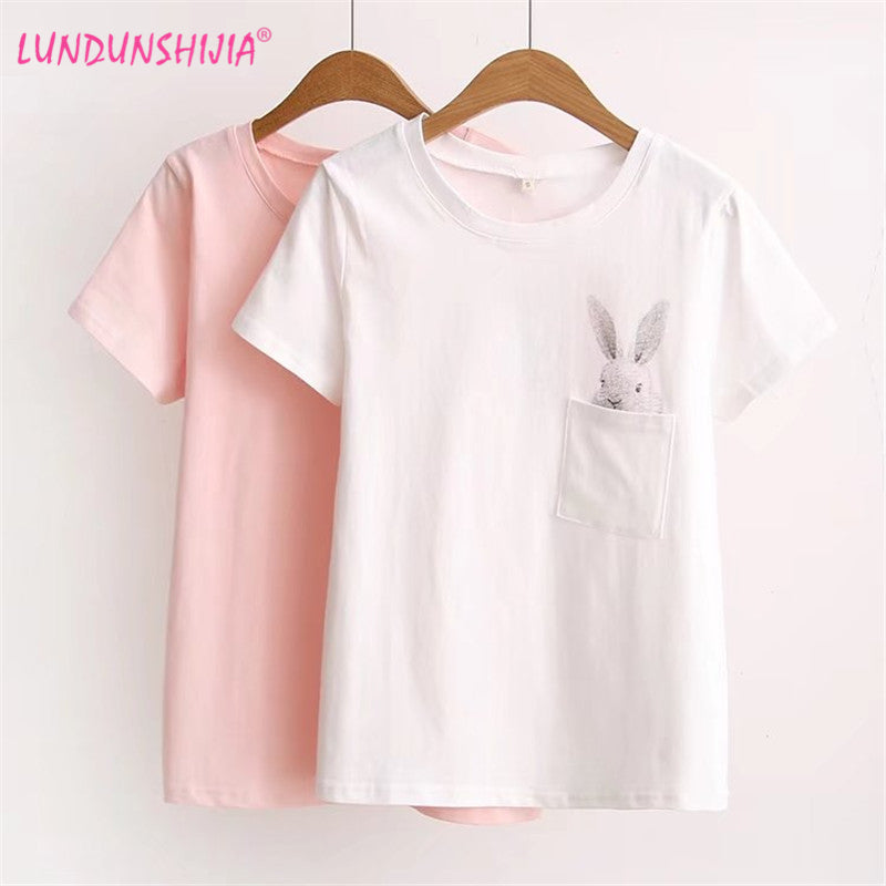 LUNDUNSHIJIA 2017 Summer T-shirt Women Lady Top Cotton Female T-shirt Clothing Printed Pocket Rabbit Top Cute T-shirts For Women