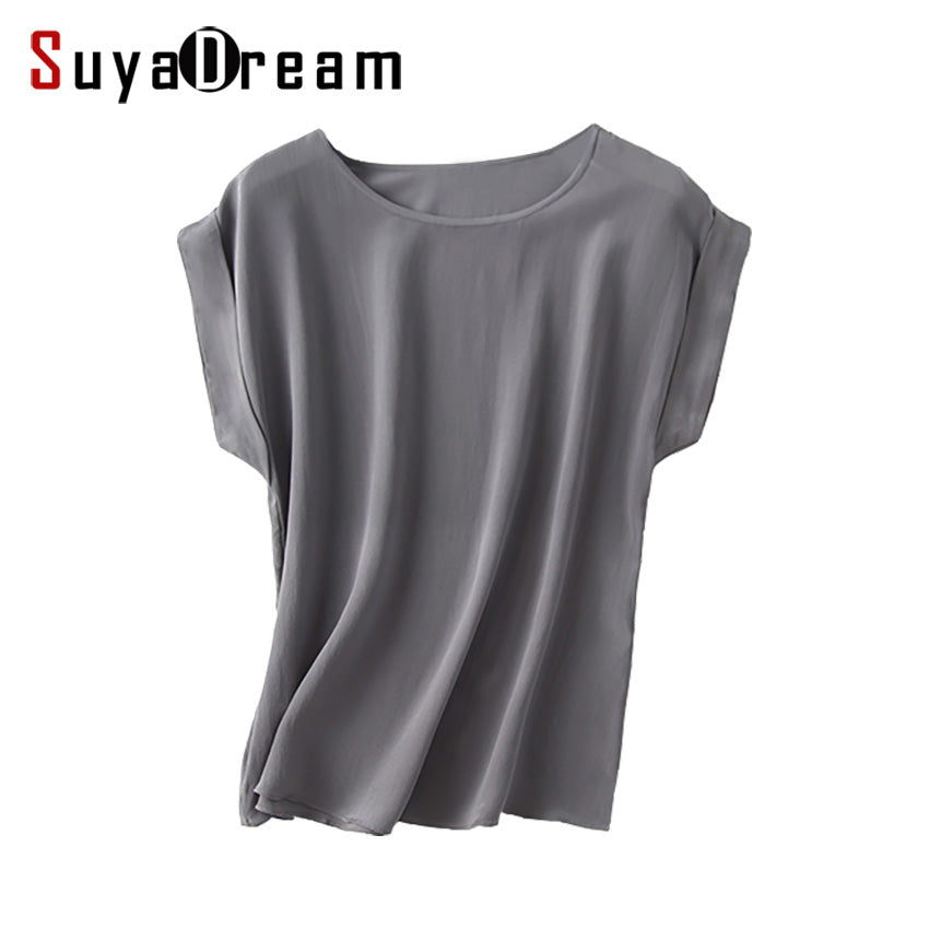 Women Real Silk T Shirt Short Bat sleeved Solid chiffon loose shirt 100% Natural silk Basic Top Plus size 2018 Summer bottoming
