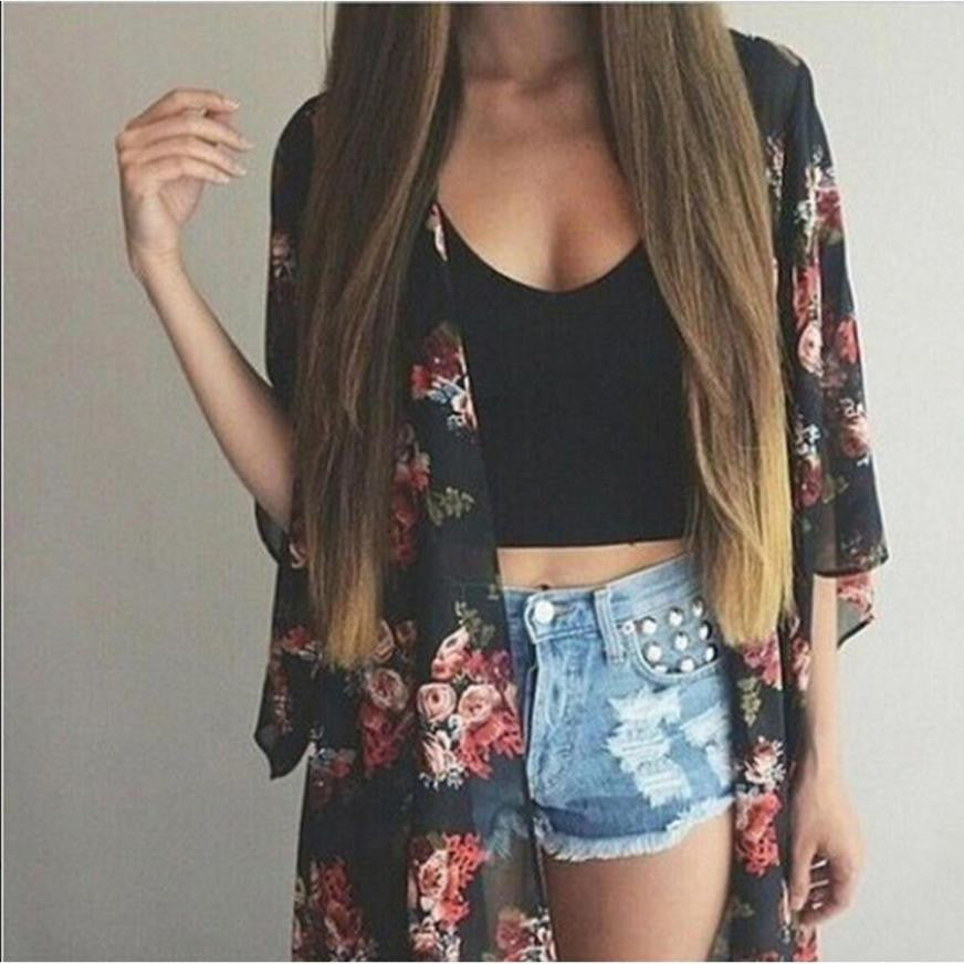 JECKSION Summer Cover up Women Chiffon Blouse Kimono Cardigan Floral Printed Shawl Tops 2016 New