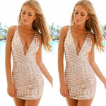 Fashion Women Dress 2017 New Spring Sexy Deep V Neck Sequin Bodycon Bandage Party Club Mini Dress Rose Gold vestidos mujer#LSN