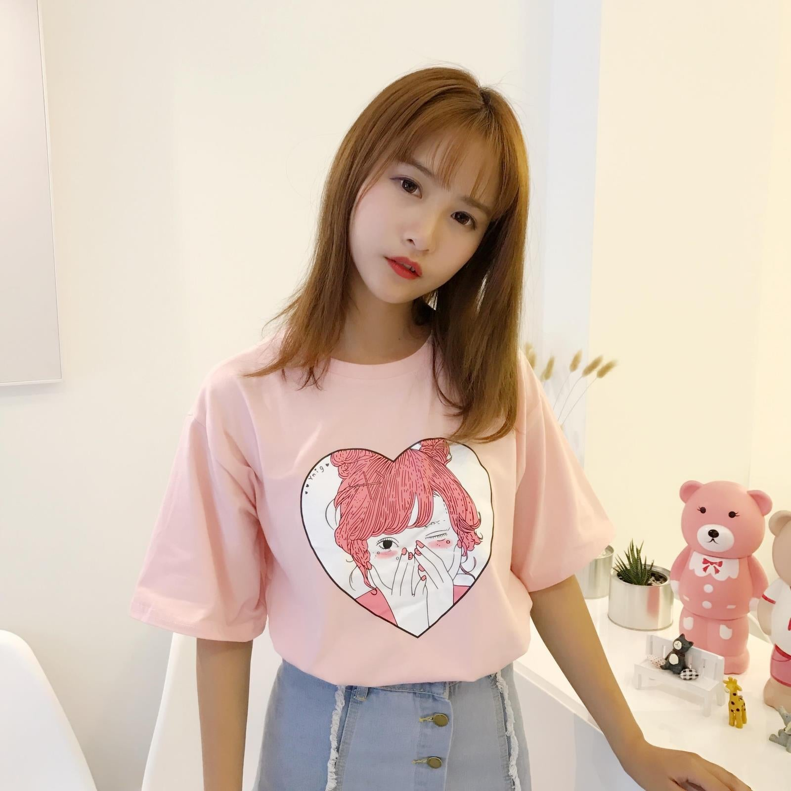 Summer New Fashion Cute Character Printed All Match Cotton Short Sleeve Female T-shirts
