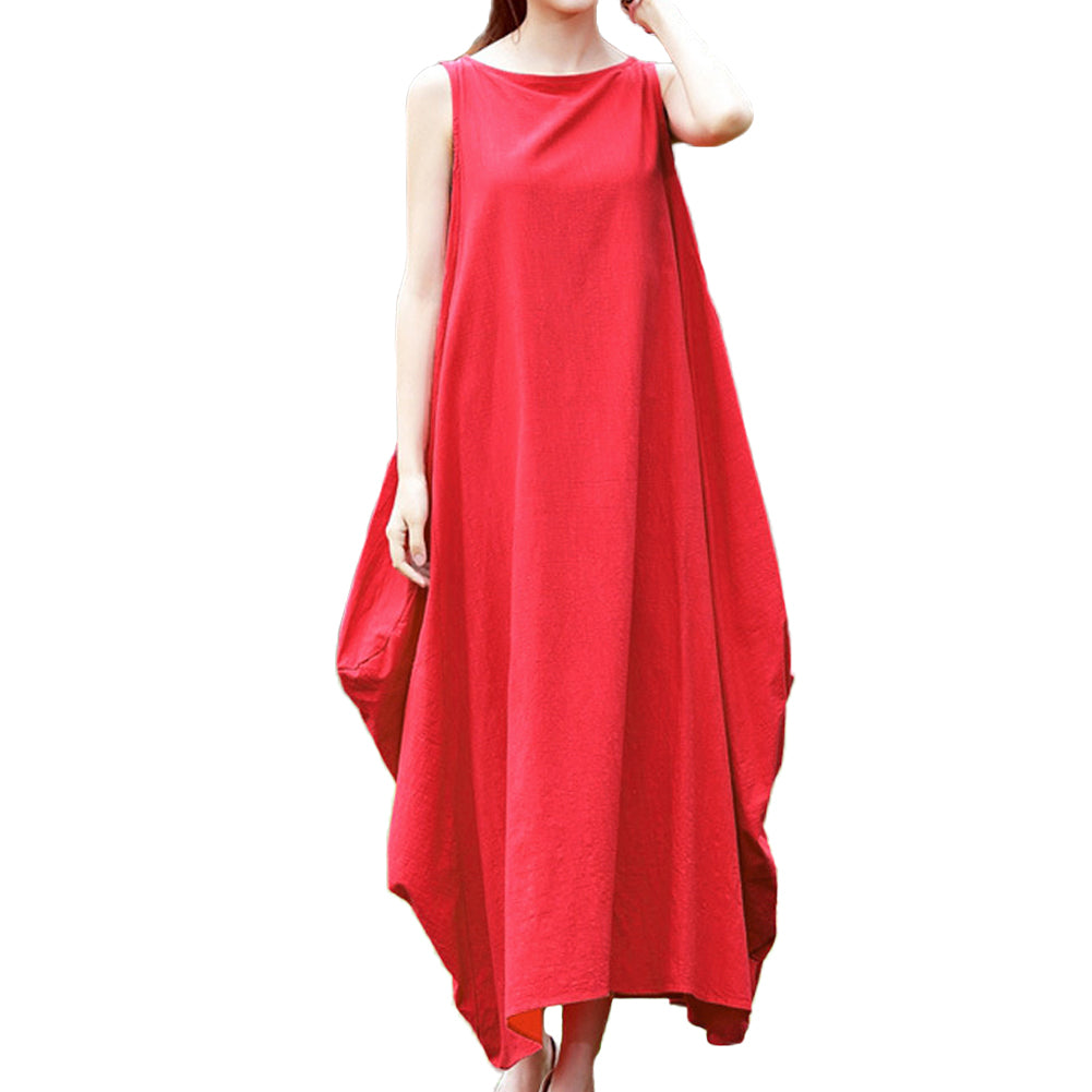 5XL Plus Size Womens Clothing Maxi Sleeveless Loose Dress Pockets O Neck Solid Mori Swing Oversized Tank Dress Big Size Sundress