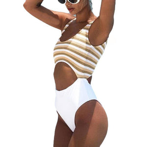 New Bikinis High Waist Brazilian Sexy Swimsuit Women One Piece Push Up Sleevess Striped Beach Wear Jumpsuit  wholesale #EW